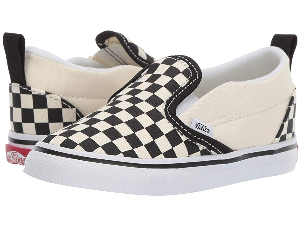[ Hot Deals ] Vans Kids Slip-On V (Infant/Toddler) (Checkerboard) Black/White