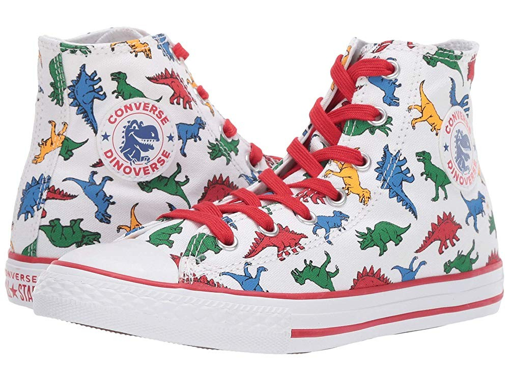 Converse Kids Chuck Taylor All Star(r) Dinoverse - Hi (Little Kid/Big Kid) White/Enamel Red/Totally Blue