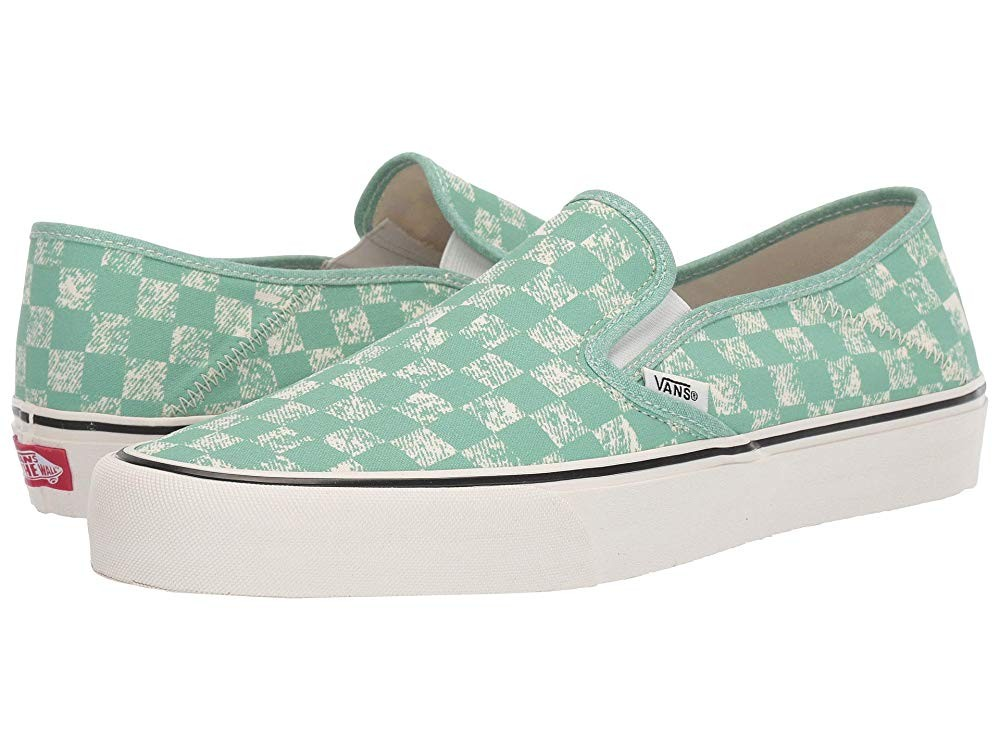 [ Hot Deals ] Vans Slip-On SF (Distressed Checkerboard) Neptune Green