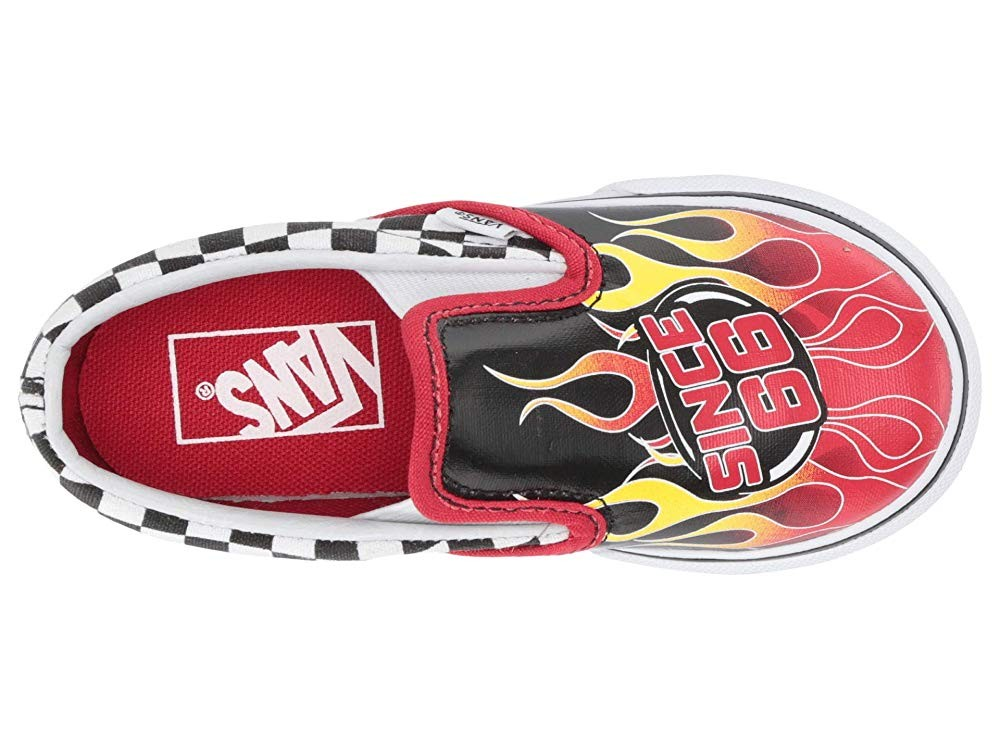 Vans Kids Classic Slip-On (Infant/Toddler) (Race Flame) Black/Racing Red/True White