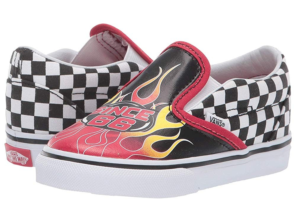 [ Hot Deals ] Vans Kids Classic Slip-On (Infant/Toddler) (Race Flame) Black/Racing Red/True White