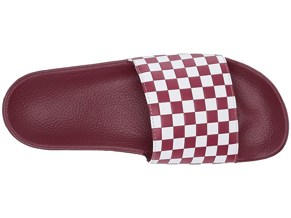 [ Hot Deals ] Vans Slide-On (Checkerboard) Rumba Red/White